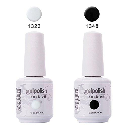 Arte Clavo 2Pcs 15ml Soak Off Gel Nail Polish Set Nail Art Salon Manicure Varnish White and Black Classic Color