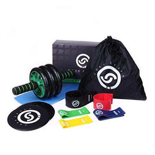 Core Crush Exercise Equipment Fitness Kit - 5 Resistance Bands, 2 Core Disc Sliders, Ab Roller Wheel, Knee Pad & Carry Bag