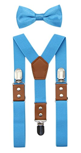 JAIFEI Suspender & Bowtie Set For Men & Boys Durable Clips & High End PU Leather (Boys(32 Inches), Turquoise) -