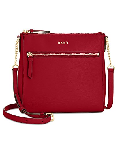 Dkny Red Leather - DKNY Small Top-Zip Crossbody (Scarlet)