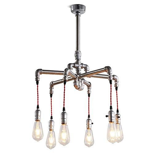 Yxx max Pendant Lights Chandelier, Industrial Retro 6 Lamp Chandelier Bar Table Creative Industrial Wind Coffee Restaurant Personality Water Pipe Chandelier