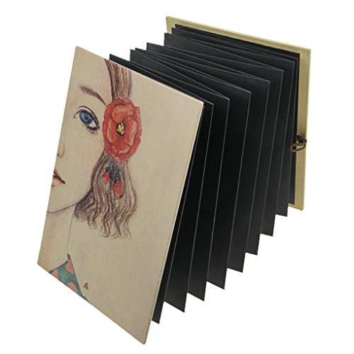 Scrapbook Photo Album Kraft Paper Accordion style Adhesive DIY Folding Photo Albums Anniversary Memory Book Wedding Guest Book Birthday Gift Sketchbook 34 Black Pages with Corner Stickers, 8.3