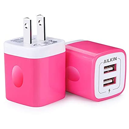 Charger Plug, USB Wall Charger, Ailkin USB Charging Block Base Box Cube Outlet Adapter Replacement for LG, Samsung Galaxy, Kindle, Moto, Huawei, HTC, ...