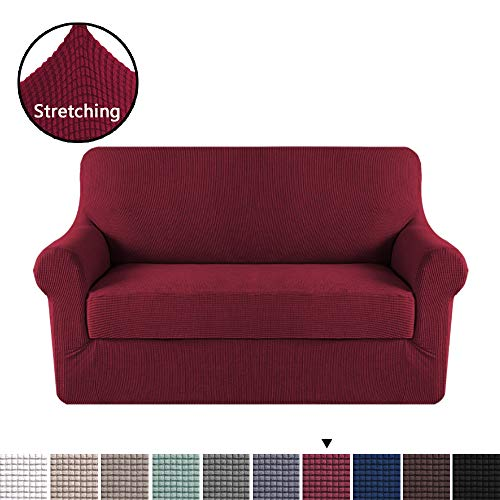 H.VERSAILTEX High Stretch 2 Piece Furniture Protector Sofa Cover for Loveseat, Durable Spandex Stretch Fabric Super Soft Slipcover- Burgundy, 2 Seater Loveseat (Couch Seat Love Cover Red)