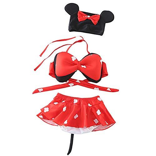 Mukola 3pcs Baby Girl Swimsuit Cute Polka Dot Bow Bikini Set Bathing Suit with Cap (Polka, 3-4T)