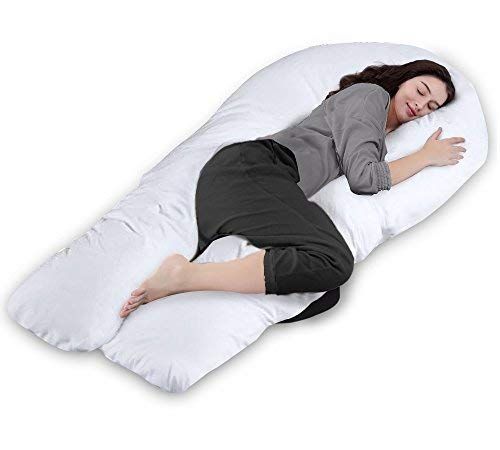 U Body Support Pillow Comfort (QUEEN ROSE 65in Pregnancy Body Pillow-U Shaped Maternity Pillow for Pregnant Women with Cotton Cover,White)