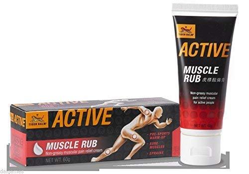 - ORIGINAL TIGER BALM Active Muscle Rub,虎标ACTIVE酸痛膏,Non-Greasy,muscular Pain Relief cream 60g