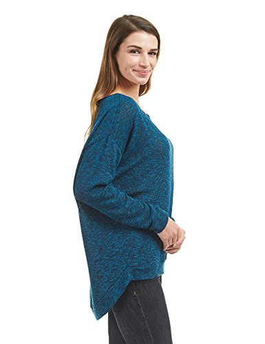WT1461 Womens Long Sleeve High Low Loose Knit Sweater Top M Teal_Black by Lock and Love (Image #2)