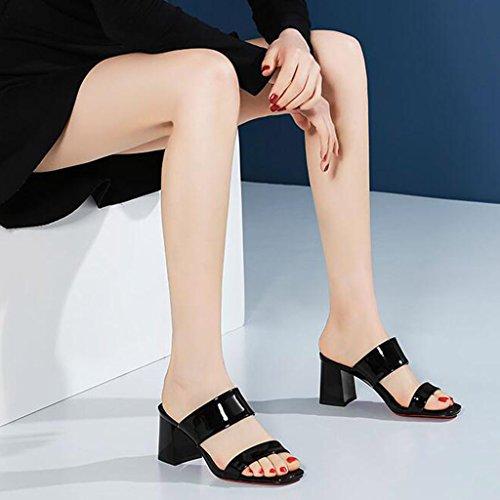 Open Spessi Pantofole Superiore Estivo Nero Di Tallone Dell'unità Sandali Toe Shoes Del Elaborazione Ms 6dPtqTU