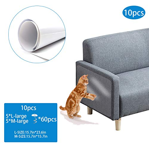 10PCS Furniture Protectors from Cats Couch Furniture Scratch Guards Cat Couch Protector Guards with Pins for Protecting Your Upholstered Furniture Clear Self-Adhesive Pet Scratch Guard for Furniture