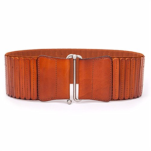 Stylish vintage woman head leather belt waist seal decorate dress wide waistband,brown
