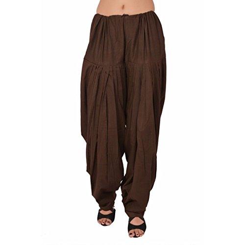 PlainPatialaSalwar Pants-100% Cotton-in Many Colours- Kameez Kurti Tunic Yoga Brown ()