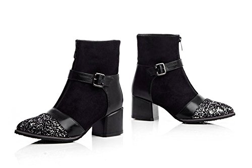 Boots Booties Belt Womens High Pointed Thick Black Black Buckles toe Platform Ankle Heels AIWEIYi Fvwqf77