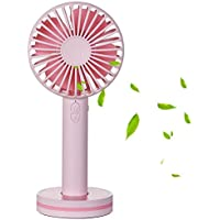 Bwealth Portable Handheld Fan, Quieter Mini USB Rechargeable Electric Fan, 3 Speed Adjustable Desk Fan with Magnetic Base Mini Mirror for Office Bedroom Traveling Camping Outdoor Sports (Pink)
