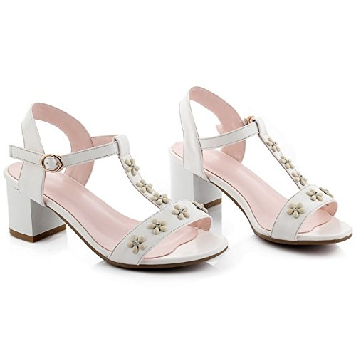 COOLCEPT Mujer Moda Ankle Strap Sandalias Punta Abierta Zapatos With Flor (35 EU, Pink)