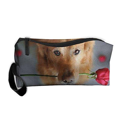 Rose Dog Cosmetic Bags Brush Pouch Makeup Bag Zipper Wallet Hangbag Pen Organizer Carry Case Wristlet Holder]()