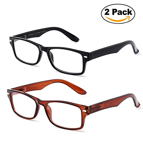 Newbee Fashion - IG Unisex Clear Lens Slim Light Weight Small Plastic Rectangular Frame Clear Lens Glasses with Spring Temple 2 Pack Black & Brown