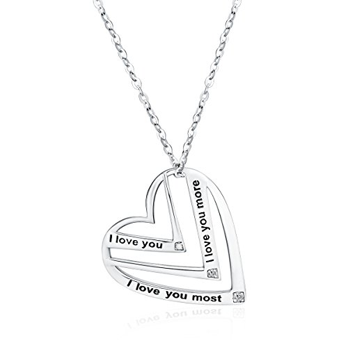 Victoria Jewelry I Love You,I Love You More,I Love You Most Engraved Pendant – 925 Sterling Silver Heart Necklace for Women