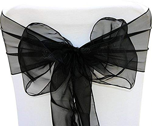 Organza Wedding Sashes - SARVAM FASHION SF New Pack of 100 Chair Decorative Organza Sashes Bow Designed for Wedding Events Banquet Home Kitchen Decoration - (100, Black)