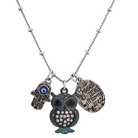 Lux Accessories Boho Good Times Will Come My Way Patina Owl Hamsa Charm Necklace