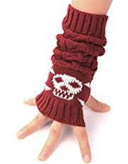 Flammi Unisex Cable Knit Fingerless Arm Warmers Crossbones Jacquard Thumb Hole Gloves Mittens