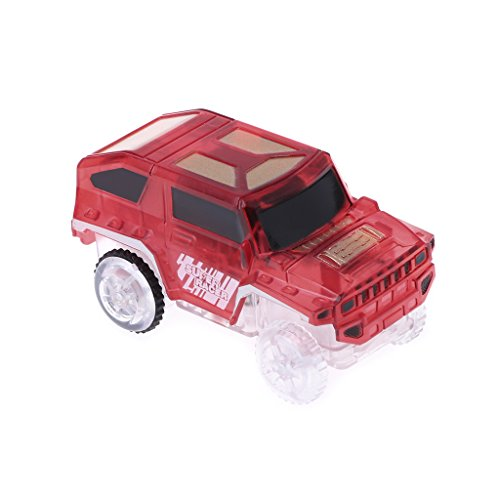- Yumoo LED Light Up Car For Magic Track Electronic Cars Toy With Flashing Light Gift (Red)