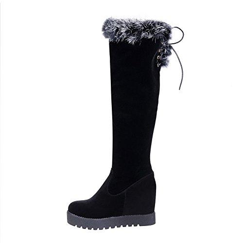 AllhqFashion Damen Ziehen auf Hoher Absatz Blend-Materialien Rein Knie Hohe Stiefel Schwarz