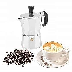30mL 1 Cup Aluminum Italian Type Moka Pot Espresso Coffee Maker Stove Home Office Use on Gas or Electric Stove