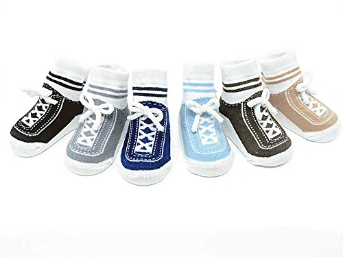 Baby Emporio-Baby Infant Toddler Boy Socks-Shoe Look-Anti slip Soles-6 Pairs-Cotton (0-12 Months, Stepping Out)