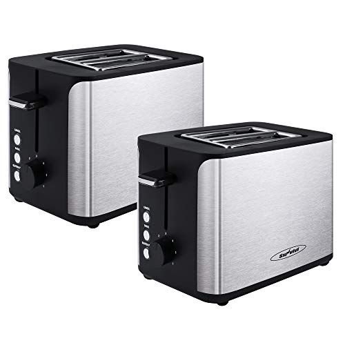 Cheap 2 Piece Toaster 2 Slice, Stainless Steel Bread Toaster, Extra Wide Slot Toaster with Bagel Gluten-Free Cancel Function 6-Shade Setting, Black bagel toasters