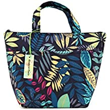 wonderful flower lunch bags for women Insulated Lunch Box Zipper Tote Bag (004Navy)