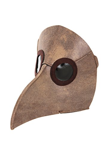 Black Plague Mask (elope Plague Doctor Mask, Brown, One Size)