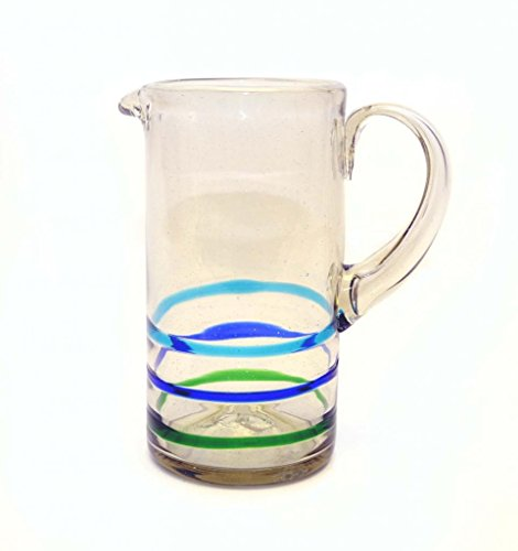 STRAIGHT PITCHER, STRIPED WITH THREE LINES, GREEN, BLUE, AND TURQUOISE. RECYCLED GLASS - 80 OUNCES. ()
