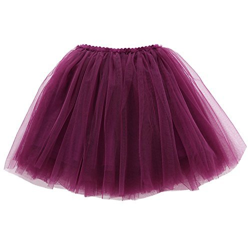 Little Girls' Solid Lightweight Cute Tutu Skirts Party Birthday Dress Pleated Ballet Tutus for 4 Years Old Dark Purple