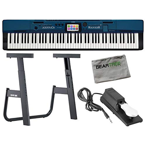 Casio Privia PX-560BE 88 Key Digital Portable Piano in Blue with Adjustable Z Style Stand and Sustain Pedal