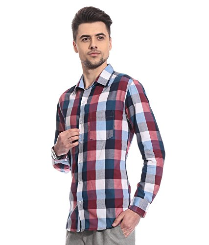 Street Junkies Men #39;s Checkered Casual Red, Blue Shirt