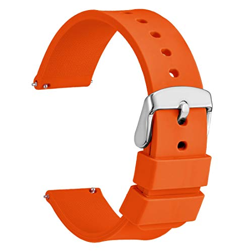WOCCI Silicone Watch Band 18mm,Soft Rubber Replacement Straps with Quick Release (Orange)