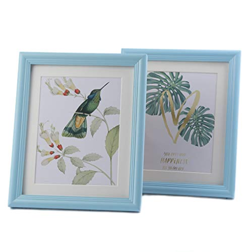 BesideTree Blue Picture Frames 8x10 inch Solid Wood 2 Set for Wall & Tabletop - Display Pictures 6x8 with Mat or 8x10 Without Mat - #210BL2P (Sky Picture Blue Frame)
