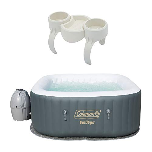 (Coleman SaluSpa 4 Person Portable Inflatable AirJet Spa Hot Tub & Drink Holder)