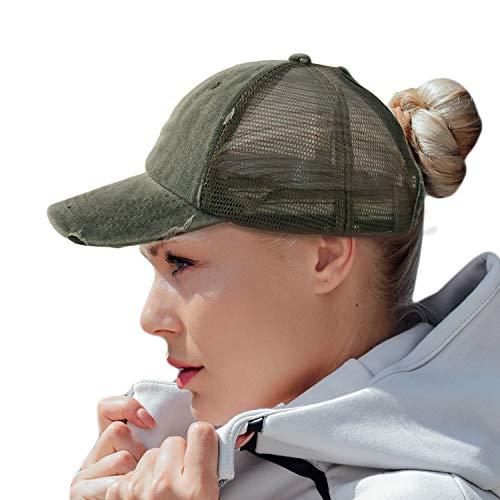 HH HOFNEN Women Ponytail Hat Washed Twill Cotton Baseball Cap Vintage Adjustable Dad Hat (#05 Army Green (Mesh Ponytail)) ()