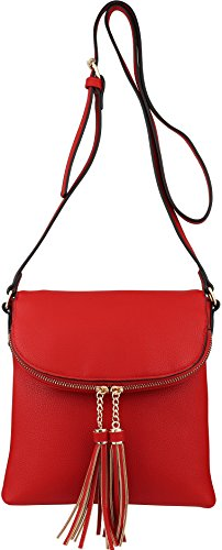 n Crossbody Medium with Accents Tassel BRENTANO Flap Over Vegan Red Handbag B q7Pp4xww