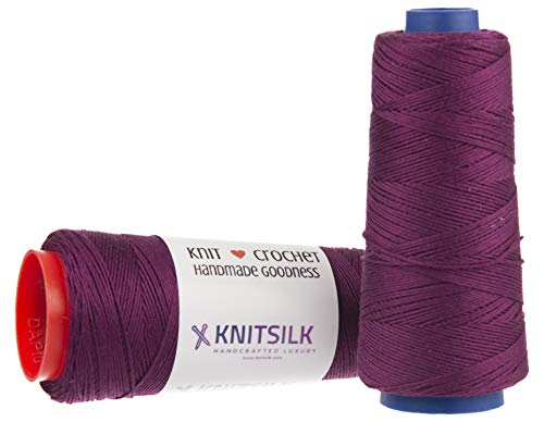 KnitSilk Pure Silk Viscose Blend Yarn in Cones - Knit, Crochet, Weave, Tatting, Jewelry, Crafts (8 Ply - 160 Yards, Pack of 1) (Wine)