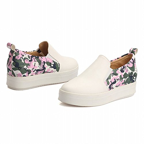 Latasa Womens Fashion Printed Slip on Sneakers Shoes, Skate Shoes, Flats Shoes, Loafers Shoes white ( main color )