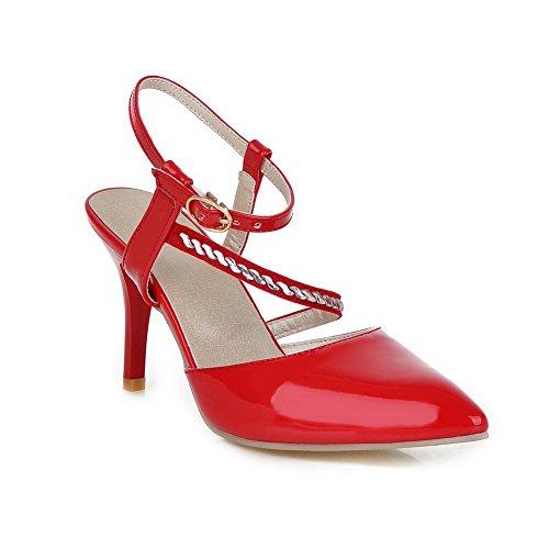 Adee Girls Solid Buckle Polyurethane Sandals Red 2LnAtwPNIQ