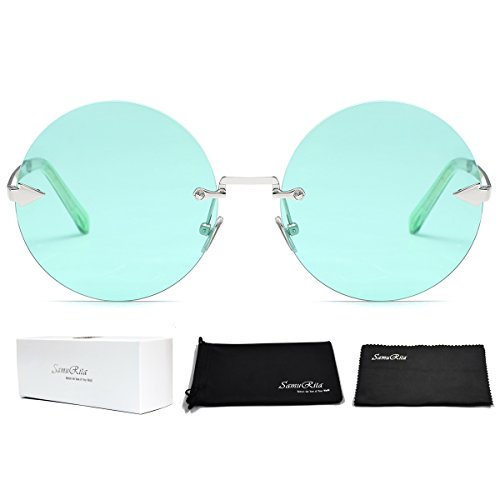 SamuRita Rimless Round Sunglasses Tinted Candy Color Arrow Design Lennon Style - Lennon Style Glasses