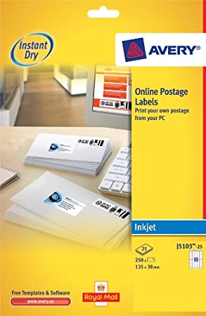 avery j5103 25 smartstamp online postage labels a4 sheets of 135 x 38 mm
