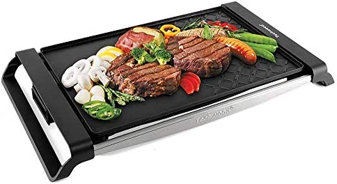Techwood Electric Grill Portable Raclette Grill Tabletop Grill Indoor Outdoor Use, Non-stick Grilling, 1500W