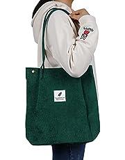 Corduroy Tote Bag with Inner Pocket Fashion Shopping Bag