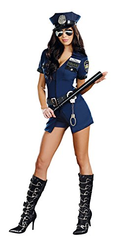 Police Officer Halloween Costume Women (Dreamgirl Women's Officer B Naughty Costume, Blue, Medium)