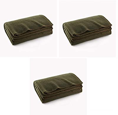 """Ever Ready First Aid Olive Drab Green Warm Wool Fire Retardent Blanket, 66"""" x 90"""" (80% Wool)-US Military from Ever Ready First Aid"""